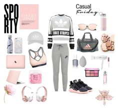 """Outfit Inspiration // Sporty, Baby Pink and Grey"" by peltomakipauliina on Polyvore featuring adidas Originals, adidas, NIKE, Kate Spade, T3, Essie, beautyblender, Topshop, Swell and Samsung"