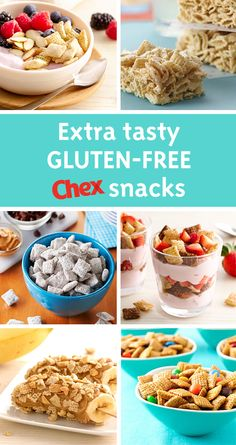 Up your gluten-free snack game with ideas from Chex. From morning parfaits to afternoon treat bars, there's the perfect recipe for every snacking occasion. Chex Mix Recipes, Snack Recipes, Dessert Recipes, Cooking Recipes, Dinner Recipes, Gluten Free Sweets, Gluten Free Recipes, Keto Recipes, Muffins