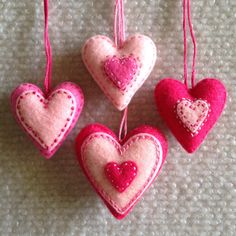 Valentine heart ornaments Pink felt hearts Set of four by Lucismiles on Etsy