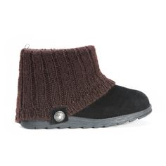 Black faux suede winter ankle bootie with a brown sweater knit upper and decorative button.