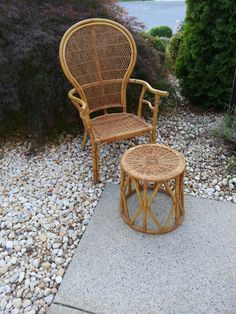Bamboo Chair And Foot Stool Bent/ Woven Bamboo By LUCKYHOMEFINDS