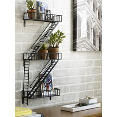 fire escape rail shelving
