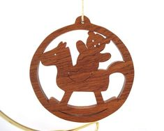 Teddy Bear Rocking Horse Christmas Ornament Country Christmas Decoration Hand Cut  Scroll Saw Sapele