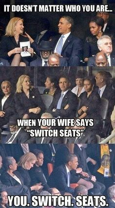 Funny Obama Flirting Switch Seats / omg look at the expression on mooch's face in all three pics! lol then look at the expression of the blonde woman in the middle pic. lol