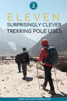 Trekking poles aren't just for supporting your balance while hiking. Check out these eleven non-hiking uses for your trekking poles. Uses for emergency situations, hanging laundry, protection and more. Backpacking Tips, Hiking Tips, Camping And Hiking, Hiking Gear, Hiking Backpack, Camping Gear, Trekking Gear, Camping Guide, Diy Camping