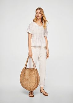 Checked frill blouse