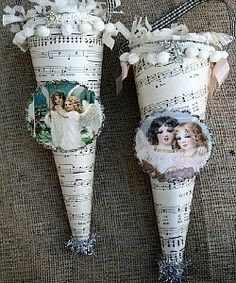 Victorian Style Christmas Ornaments Shabby N Chic Christmas Decoration Decor Happy New Year Victorian Crafts, Victorian Christmas Ornaments, Christmas Tea, Victorian Lace, Christmas Carol, Shabby Chic Christmas Decorations, Whimsical Christmas Trees, Old Fashioned Christmas, Christmas Crafts