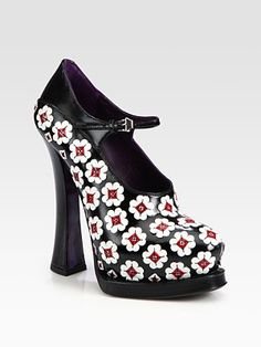 Prada Leather Flower Mary Jane Platform Pumps...these make me sooo happy...
