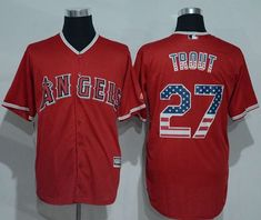 1057aa8ca99 Angels of Anaheim #27 Mike Trout Red USA Flag Fashion Stitched MLB Jersey