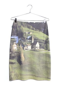 Moschino Swiss Chalet Photo Print Skirt