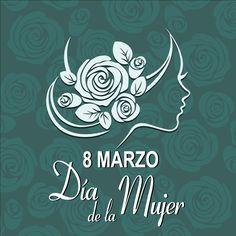 Cartel del día de la mujer en color verde con estilo ligeramente vintage, en vector e imagen normal, descarga gratis.