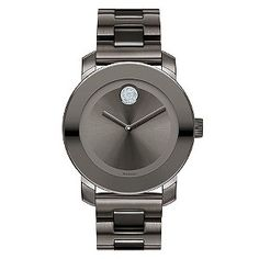 This sleek men's watch perfectly exhibits Movado's signature minimalist style. Set on a bracelet in a sultry grey ion plating, the plain dial is complemented with Movado's iconic dot motif in pale blue crystal. Smart and contemporary timekeeping from Swiss watchmakers Movado.