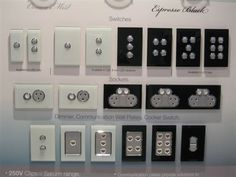 New range from Clipsal! Electrical Switches, Electrical Outlets, Modern Light Switches, Wall Panel Design, Narrow House, Gated Community, Plates On Wall, Smart Home, My Dream Home