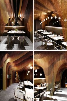 This modern restaurant features approximately meters of gold chains that make up sculptural layers, mimicking the mountainous tea fields in China. Restaurant Lighting, Modern Restaurant, Cafe Restaurant, Restaurant Design, Resturant Interior Design, Cafe Interior, Modern Architecture Design, Modern Interior Design, Fine Dining