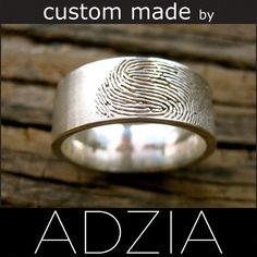 Custom Made Fingerprint Wedding Band in Sterling Silver with Pipe Cut Ring Profile and Handwritten Quote Size 9.5/8mm - For ASHLEY - Final via Etsy