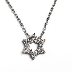 "Love this! Find it at UnlmtdBeauty.kitsylane.com.  This Star of David, Rachel necklace is stunning. Featuring a delicate star glistening with pave finery on a fine rolo chain, Rachel is a necklace that will keep it's shine! - Silver, CZ - 16"" chain with 1"" extender - Spring clasp Item # PKJ30001003"