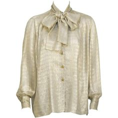 1980's Chanel Gold Silk Sheer Blouse with Pussy Bow (32,970 DOP) ❤ liked on Polyvore featuring tops, blouses, gold blouse, transparent blouse, brown silk top, silk top and brown tops