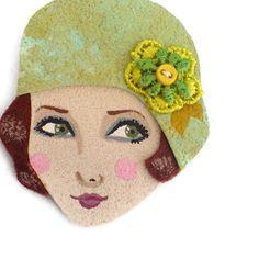 20s flapper girl brooch  Eve ooak fabric brooch mint by yalipaz, $22.00