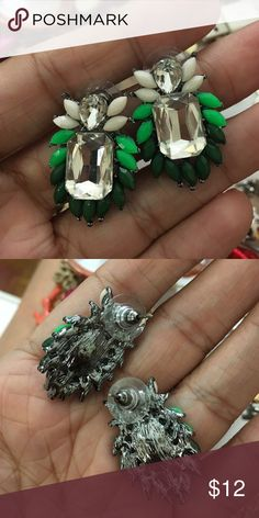 Green statement earrings Never worn Jewelry Earrings