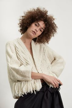 """IRRITATION CARDIGAN is a hand knitted piece made of Wear yours with sleek high wasted trousers for a """"chic"""" outbound. Knitwear Fashion, Knit Fashion, Fall Sweaters, Cute Sweaters, How To Purl Knit, Knit Picks, Knitting Designs, Knit Crochet, Women Wear"""