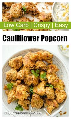 With its super crispy, tasty low carb crust, this cauliflower popcorn is a hit with the entire family. No soggy business here! Cauliflower Popcorn, Cauliflower Bites, Cauliflower Recipes, Low Carb Granola, Low Carb Side Dishes, Side Dish Recipes, Lunches And Dinners, Meals, Sweet Chilli Sauce