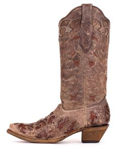 Corral Women's Tabacco With Chocolate Caiman Inlay Boot