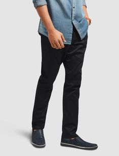 These regular fit chinos give you a smarter look for all occasions whether casual or formal. Our non-pleated pants feature 5 pockets, zip fly and a top button closure. These cotton chinos with keep you comfortable all year round. Mens Chino Pants, Denim Pants, Pleated Pants, Denim Outfit, Wholesale Clothing, Black Jeans, Pocket, Fitness, Casual