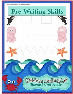 Ocean Animals Unit Study: Preschool Writing Practice  --  prewriting  --  fine motor
