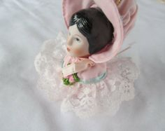 Victorian doll heads christmas ornaments | Pink Christmas Victorian Lad y Ornament Lace and Frills Porcelain Doll ...