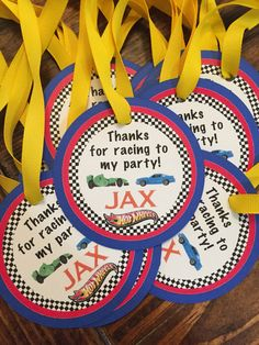 Race Car Hot Wheels Birthday Favor Tags-set of 10 by MyLittleGaggle on Etsy www. - The Motor Show Hot Wheels Birthday, Hot Wheels Party, Race Car Birthday, Race Car Party, Boy Birthday, Train Party, Birthday Banners, Race Cars, Harry Birthday