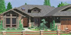 House front color elevation view for 10163 One story house plans, ranch house plans, 3 bedroom house plans, house plans with screened porch, 10163