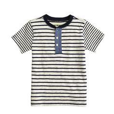 Boys' short-sleeve henley in contrast stripe