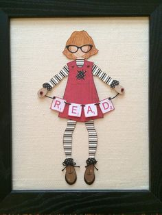 """Julie Nutting Paper doll """"Reading girl"""" made with Prima Julie Nutting doll template and Scrabble tile stamps"""