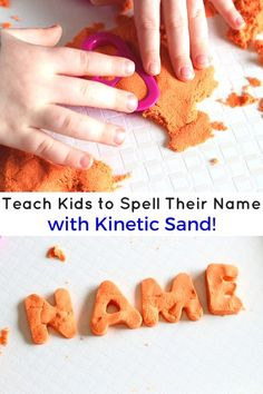A fun kinetic sand learning activity to teach kids their name and develop fine motor skills.