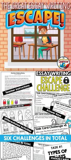 If you are looking for a fun, new way to teach your students the basics of an essay, then THE GREAT ESSAY WRITING ESCAPE is for you! There are six essay-themed (trivia) challenges included in this file. Students will complete a variety of tasks using problem-solving and critical thinking skills. #essay #essaywrtiting #highschoolenglish