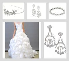 The Grace headband, Clemons earrings, Clark bracelet and Wolfson earrings with Lazaro bridal gown. Save 10% at adorn.com using promo code: pinterest10 ... Bridal accessories, wedding accessories, diamond jewelry, diamond earrings
