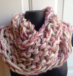 Super+chunky+Winter+circle+scarf+handknit+by+whilewaiting+on+Etsy $28