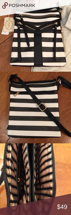 """Cross body bag black and white stripe Cute cross body messenger bag is striped vegan leather w/inner and outer zippered pockets and gold hardware.  9x10x2"""" Bags Crossbody Bags"""