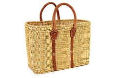 Tote Basket w/ Leather on OneKingsLane.com