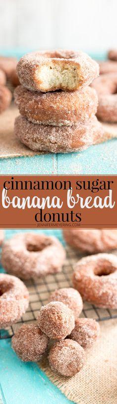 Cinnamon Sugar Banana Bread Donuts - JenniferMeyering.com