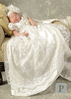 Preslee Silk Christening Gowns for Girls | One Small Child