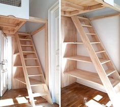 Treppenregale und Regal-Treppen der Tischlerei Hardys Hochbetten Stair shelves and shelf stairs of the carpentry Hardys high beds Tiny House Stairs, Loft Stairs, Stair Shelves, High Beds, Loft Room, Attic Rooms, Tiny House Design, Home Decor, Loft Beds