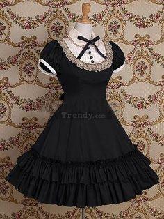 Black A-Line Sleeveless Bow Cotton Lolita Dress (Lolita160)01