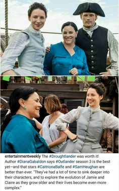 Caitriona Balfe as Claire Randall Fraser and Sam Heughan as Jamie Fraser with the Author of the Outlander series, Diana️ Gabaldon ♥♥ - photos from Entertainment Weekly magazine - November 9th, 2017
