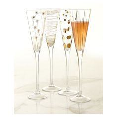 Champagne Flutes ($80) ❤ liked on Polyvore featuring home, kitchen & dining, drinkware and gold