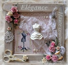 cadre Shabby byFranieBess Plus Crafts To Do, Hobbies And Crafts, Arts And Crafts, Diy Crafts, Decoration Shabby, Heritage Scrapbooking, Knit Art, Shadow Box Frames, Fabric Gifts