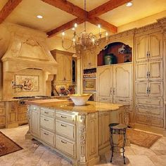 Heyl Homes Luxury Home Gallery. Beautiful antique white kitchen, stone stove top, lovely for French country home. I am totally in LOVE with this kitchen! Elegant Kitchens, Luxury Kitchens, Beautiful Kitchens, Cool Kitchens, Dream Kitchens, French Country Kitchens, French Country House, Country Style, Modern Country