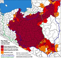 A map of ethnic Poles in the early 20th century.