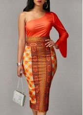 Long Sleeve Orange Top and Printed Sheath Skirt | Rosewe.com - USD $33.23