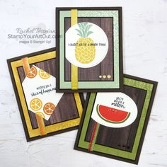 Click here to see how to use Stampin' Blends alcohol-based markers with Fine Tip Glue to embellish greeting cards stamped with images from the Cute Fruit Stamp Set. These cards also show off fun patterns from the In Good Taste and Ornate Garden packs of designer papers. You'll be able to access measurements, a how-to video with tips and tricks, other close-up photos, and links to all the products I used. - Stampin' Up!® - Stamp Your Art Out! www.stampyourartout.com #stampyourartou... Youtube How To Make, Online Paper, One In A Melon, Cute Fruit, Fun Patterns, Alcohol Markers, Congratulations Card, Close Up Photos, My Favorite Image